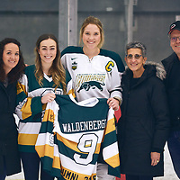 5th year forward, Emma Waldenberger (9) of the Regina Cougars during the Women's Hockey Home Game on Sat Feb 02 at The Co-operators Arena. Credit: Arthur Ward/Arthur Images