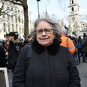 Lindsey German (Stop the War Coalition) Protest against Julian Assange Extradition Free speech is not a Crimes, on 22th Feb 2020  in London, UK