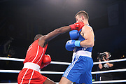 Boxen: AIBA Box-WM, Day 5, Hamburg, 29.08.2017<br /> 81 Kg: Julio La Cruz (CUB, red) - Ibrahim Bazuev (GER, blue)<br /> © Torsten Helmke