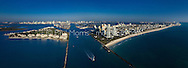 Aerial of Miami Beach and the port of Miami, at the entrance to  Government Cut. This version is watermarked, contact us to license and clean version.