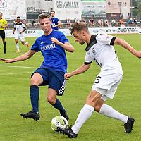 01.08.2020, C-Team Arena, Ravensburg, GER, WFV-Pokal, FV Ravensburg vs SSV Ulm 1846 Fussball, <br /> DFL REGULATIONS PROHIBIT ANY USE OF PHOTOGRAPHS AS IMAGE SEQUENCES AND/OR QUASI-VIDEO, <br /> im Bild Samuel Boneberger (Ravensburg, #17), Marcel Schmidts (Ulm, #15)<br /> <br /> Foto © nordphoto / Hafner