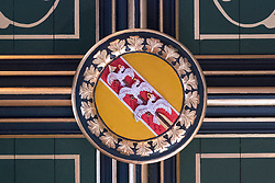 Coat of Arms of the Queen with three birds impaled on one arrow inside Royal Palace at Stirling Castle in Stirling, Scotland, United Kingdom.