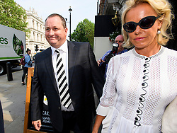 © London News Pictures. 07/06/2016. London, UK. Founder and Deputy Executive Chairman of Sports Direct, MIKE ASHLEY, arrives at Portcullis House in London with his wife LINDA ASHLEY to give evidence to a Business, Innovation and Skills Committee about treatment of low-paid staff.. Photo credit: Ben Cawthra/LNP