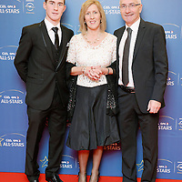 8 November 2013; Clare hurler Colm Galvin with his parents Geradline and Kevin arrive ahead of the GAA GPA All-Star Awards 2013 Sponsored by Opel, at Croke Park, Dublin. Picture credit: Brendan Moran / SPORTSFILE