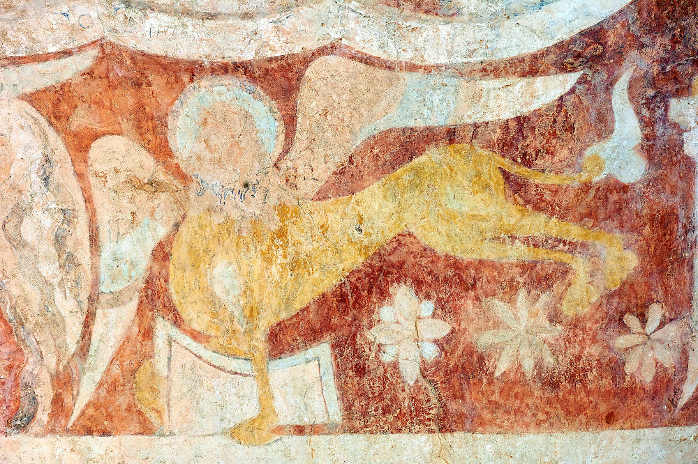 Romanesque fresco of  St Mark in the altar vault of the Norman Church of St Mary's Kempley Gloucestershire, England, Europe .<br /> <br /> Visit our MEDIEVAL PHOTO COLLECTIONS for more   photos  to download or buy as prints https://funkystock.photoshelter.com/gallery-collection/Medieval-Middle-Ages-Historic-Places-Arcaeological-Sites-Pictures-Images-of/C0000B5ZA54_WD0s