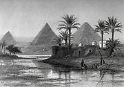 Pyramids of Gizeh [Giza or Gizah], Egypt  Steel engraving of from 'Picturesque Palestine, Sinai and Egypt' by Wilson, Charles William, Sir, 1836-1905; Lane-Poole, Stanley, 1854-1931 Volume 4. Published in 1884 by J. S. Virtue and Co, London