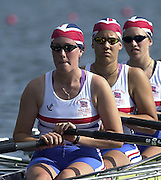 Trakai, LITHUANIA. GBR JW4X. right to left. Alison STUBBINGS, Jessica EDDIE and Natasha PAGE.  2002 Junior World Rowing Championships, on Lake Galva Wednesday  07/08/2002 [Mandatory Credit: Peter Spurrier/ Intersport Images].GBR JM4- 200208 Junior World Rowing Championships, Trakai, LITHUANIA