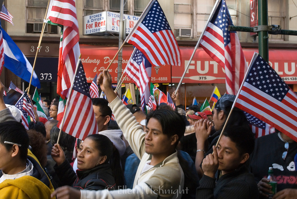 Immigration Rally in Downton New York City on April 10, 2006. People held rallies in many U.S. cities on this date to persuade Congress to offer legal status and citizenship to millions of illegal immigrants.