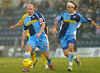 Photo: Alan Crowhurst.<br />Wycombe Wanderers v Rochdale. Coca Cola League 2.<br />10/12/2005. <br />Tommy Mooney (L) attacks for Wycombe.