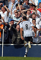 Photo: Ed Godden/Sportsbeat Images.<br /> Tottenham Hotspur v Arsenal. The Barclays Premiership. 21/04/2007. Spurs' Jermaine Jenas celebrates scoring the equalising goal to make it 2-2 in the dying seconds off the game.