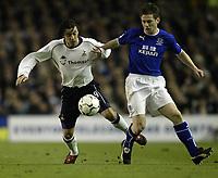 Fotball<br /> Photo. Aidan Ellis, Digitalsport<br /> NORWAY ONLY<br /> <br /> Everton v Tottenham Hotspur.<br /> FA Barclaycard Premiership.<br /> 09/04/2004.<br /> Everton's Gary Naysmith and Spurs Simon Davies