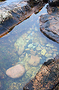 Pink granite ledges enclose a tidepool; Ship Harbor Nature Trail, Acadia National Park, Maine.