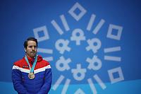 PYEONGCHANG,SOUTH KOREA,19.FEB.18 - OLYMPICS, BIATHLON - Olympic Winter Games PyeongChang 2018, Medals Plaza, 15km Mass Start, men, award ceremony. Image shows Emil Hegle Svendsen (NOR). <br /> <br /> Norway only