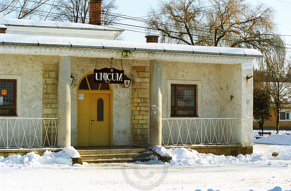 """In the Tokaj village Mad: a bar / café with a sign advertising """"Unicum"""" the very typical Hungarian alcohol. Mad is one of the main villages in the Tokaj district.  Credit Per Karlsson BKWine.com"""