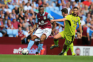 Jordan Ayew of Aston Villa (l) in action.EFL Skybet championship match, Aston Villa v Rotherham Utd at Villa Park in Birmingham, The Midlands on Saturday 13th August 2016.<br /> pic by Andrew Orchard, Andrew Orchard sports photography.