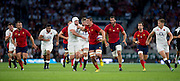 Twickenham, England.  France break through as Louis PICAMOLES tries to hand off, Ben MORGAN, during the QBE International. England vs France [World cup warm up match]  Saturday.  15.08.2015,  [Mandatory Credit. Peter SPURRIER/Intersport Images].