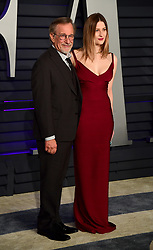 Steven Spielberg and Destry Allyn Spielberg attending the Vanity Fair Oscar Party held at the Wallis Annenberg Center for the Performing Arts in Beverly Hills, Los Angeles, California, USA.