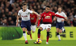 Tottenham Hotspur's Harry Winks (left) and Manchester United's Jesse Lingard battle for the ball