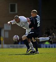 Photo: Tony Oudot/Richard Lane Photography. <br /> Southend United v Swansea City. Coca-Cola League One. 21/03/2008. <br /> Darren Pratley of Swansea goes past Nicky Bailey of Southend