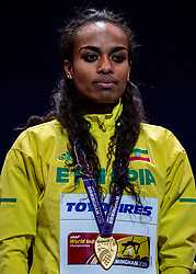 01-03-2018 GBR: World Athletics Indoor, Birmingham<br /> De Ethiopische Genzebe Dibaba, tweevoudig wereldkampioene indoor op deze afstand, pakte weer goud