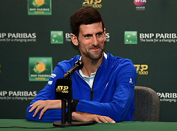 March 7, 2019 - Indian Wells, CA, U.S. - INDIAN WELLS, CA - MARCH 07: ATP tennis player Novak Djokovic (SRB) talks to the media on March 7, 2019 at the Indian Wells Tennis Garden in Indian Wells, CA. (Photo by John Cordes/Icon Sportswire) (Credit Image: © John Cordes/Icon SMI via ZUMA Press)