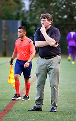 10 May 2016. New Orleans, Louisiana.<br /> NPSL Soccer, Pan American Stadium.<br /> Head coach Kenny Farrell watches on as his New Orleans Jesters take on the Shreveport Rafters FC in the first leg of the Louisiana Cup. Jesters win 2-0. <br /> Photo; Charlie Varley/varleypix.com