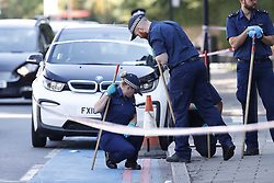 © Licensed to London News Pictures. 02/09/2018. London, UK. Police start to conduct a search of the scene where a 16-year-old boy was shot in the early hours of this moring in York Road, Wandsworth, south London. . The teenager suffered gunshot wounds and was rushed to a south London hospital, where his is condition is thought to be critical. . Photo credit: Peter Macdiarmid/LNP