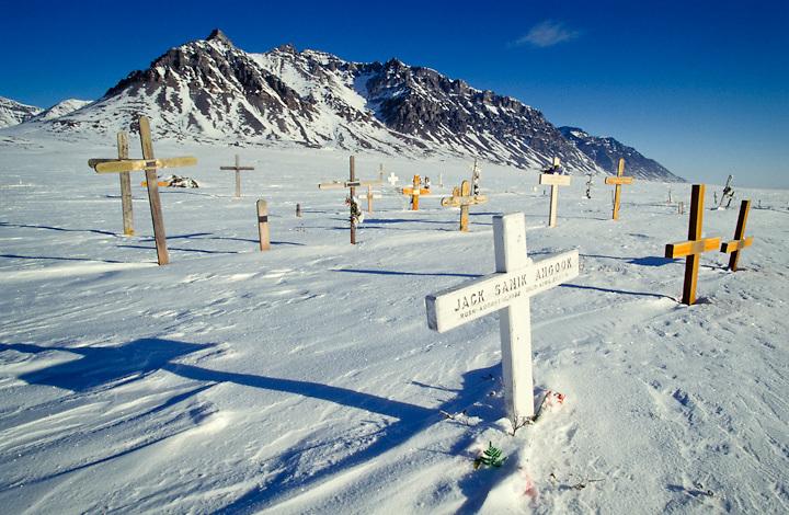 Christian graveyard in the Inupiat village of Anaktuvuk Pass, Alaska