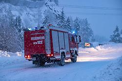 THEMENBILD - Ein Radlader in Iseltal bei Huben aufgenommen am Samstag, 5. Dezember 2020, in Osttirol. Der Winter macht sich in Teilen Österreichs mit enormen Schnee- und Regenmengen bemerkbar. In Osttirol und Oberkärnten ist von Freitag auf Samstag die Schneedecke um rund 50 bis 70 Zentimeter gewachsen. Mancherorts herrschte rote und damit höchste Wetterwarnung // A fire engine in Iseltal near Huben, taken on Saturday, December 5, 2020, in East Tyrol. The winter is making itself felt in parts of Austria with enormous amounts of snow and rain. In East Tyrol and Upper Carinthia, the snow cover has grown by about 50 to 70 centimeters from Friday to Saturday. In some places there were red and therefore highest weather warnings. EXPA Pictures © 2020, PhotoCredit: EXPA/ Johann Groder