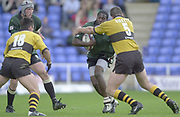 Reading, Berkshire, 29/09/02<br /> London Irish vs Wasps,<br /> Exiles Paul Sackey, attacks, the Wasps defence, down the wing, during the ZURICH PREMIERSHIP RUGBY match at the Madejski Stadium,  [Mandatory Credit: Peter Spurrier/Intersport Images],