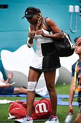 March 25, 2019 - Miami Gardens, FL, U.S. - MIAMI GARDENS, FL - MARCH 25:  Venus Williams stretches before her third round match at the Miami Open on March 25, 2019 at Hard Rock Stadium in Miami Gardens, FL. (Photo by Michele Sandberg/Icon Sportswire) (Credit Image: © Michele Sandberg/Icon SMI via ZUMA Press)