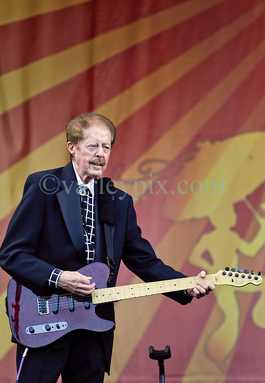 02 May 2015. New Orleans, Louisiana.<br /> The New Orleans Jazz and Heritage Festival. <br /> Kenny Lovelace plays with music legend Jerry Lee Lewis on the Acura stage.<br /> Photo; Charlie Varley/varleypix.com