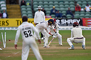 Wicket - Sam Cook of Essex is bolwed by Jack Leach of Somerset during the Specsavers County Champ Div 1 match between Somerset County Cricket Club and Essex County Cricket Club at the Cooper Associates County Ground, Taunton, United Kingdom on 26 September 2019.