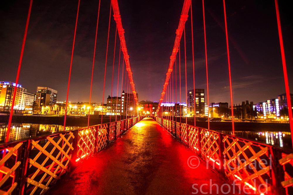 The South Portland Street Suspension Bridge over Glasgow's River Clyde..©Michael Schofield.