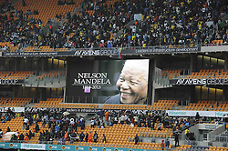 Mandela Memorial Service.<br />  60812718  <br /> Supporters arrive for the memorial service for former South African President Nelson Mandela at the FNB Stadium in Soweto, near Johannesburg, South Africa, Tuesday, 10th December 2013. Picture by  imago / i-Images<br /> <br /> UK ONLY