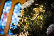 Chrismons and stained glass in the chancel on Wednesday, Dec. 16, 2020, at Immanuel Lutheran Church, Festus, Mo. LCMS Communications/Erik M. Lunsford