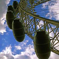 United Kingdom, Great Britain; England; London. Perspective of the London Eye Ferris Wheel.