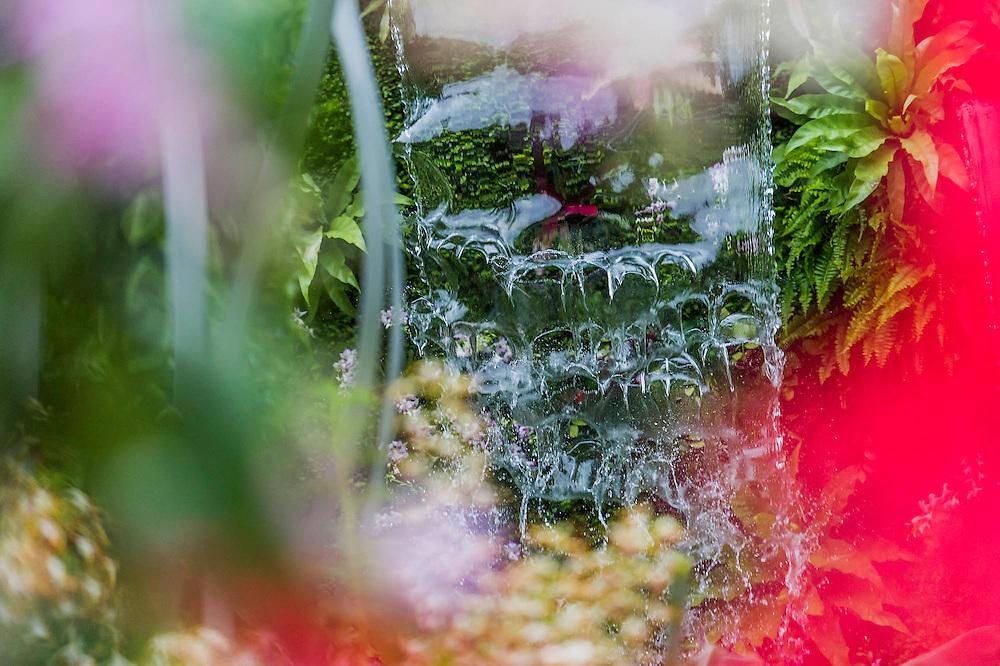 Waterfalls in the Hidden Beauty of Kranji Garden. RHS  John Tan and Raymond Toh. Chelsea Flower Show, Chelsea Hospital, London UK, 18 May 2015.