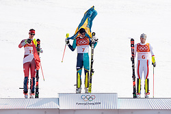 22.02.2018, Yongpyong Alpine Centre, Pyeongchang, KOR, PyeongChang 2018, Ski Alpin, Herren, Slalom, Siegerpräsentation, im Bild v.l. Ramon Zenhaeusern (SUI, 2. Platz), Andre Myhrer (SWE, 1. Platz), Michael Matt (AUT, 3. Platz) // f.l. silver medalist Ramon Zenhaeusern of Switzerland gold medalist and Olympic champion Andre Myhrer of Sweden bronce medalist Michael Matt of Austria during the winner presentation of the men's Alpine Slalom Race of the Pyeongchang 2018 Winter Olympic Games at the Yongpyong Alpine Centre in Pyeongchang, South Korea on 2018/02/22. EXPA Pictures © 2018, PhotoCredit: EXPA/ Johann Groder