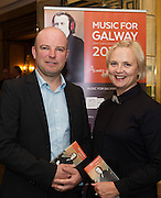 Cyril Briscoe and Claire McLoughlin, Music for Galway Board members in Hotel Meyrick for the launch of Music for Galway's new International Concert Season 'Aimez-vous Brahms?' opening on September 28th and running until May 18th including main concert series, Lunchtime series and Midwinter Festival.  . Photo: xposure.