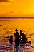 Sunset, island of Moorea, French Polynesia.