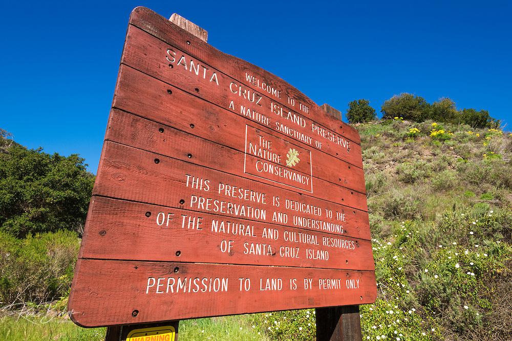 Nature Conservancy interpretive sign at Prisoners Harbor, Santa Cruz Island, Channel Islands National Park, California USA