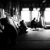 Mandala creators at Boudhanath Temple in Kathmandu