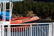 A rescue boat on the deck of the Salish Eagle - on the BC Ferries route from Tsawwassen to the Southern Gulf Islands in British Columbia, Canada.