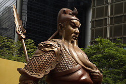 June 22, 2017 - Hong Kong, CHINA - A large bronze cast statue of Guan Gong, a popular Chinese folk hero ( Warrior God ) that stands 6 meters tall ( 20ft ) is on public display at the financial centre in Central Hong Kong to mark the celebration of 20th anniversary of Hong Kongs HANDOVER to China. June 22, 2017.Hong Kong.ZUMA/Liau Chung Ren (Credit Image: © Liau Chung Ren via ZUMA Wire)
