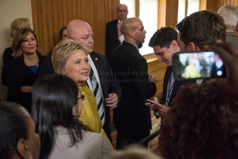 """Hillary Clinton, former Secretary of State and 2016 Democratic presidential candidate, greets supporters during an event at Stanford University in Stanford, California, U.S., on Wednesday, March 23, 2016. In the wake of a series of deadly terrorist attacks in Brussels on Tuesday, the U.S. presidential front-runners clashed over interrogation techniques and whether to stop foreign Muslims from entering the country. """"Our country's most experienced and bravest military leaders will tell you that torture is not effective,"""" said Clinton. Photographer: David Paul Morris/Bloomberg *** Local Caption *** Hillary Clinton"""