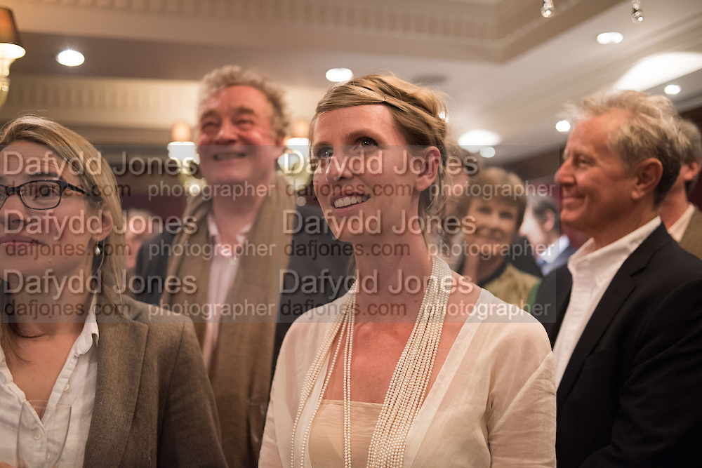 ERICA COBB;; CHRISTOPHER SIMON SYKES; IONA HEMPHILL; , David Campbell Publisher of Everyman's Library and Champagen Bollinger celebrate the completion of the Everyman Wodehouse in 99 volumes and the 2015 Bollinger Everyman Wodehouse prize shortlist. The Archive Room, The Goring Hotel. London. 20 April 2015.
