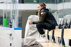Valerija Todic, masseur of HK SZ Olimpija during ice hockey match between HK SZ Olimpija Ljubljana and EC Red Bull Salzburg in bet-at-home ICE Hockey League, on October 10, 2021 in Hala Tivoli, Ljubljana, Slovenia. Photo by Morgen Kristan / Sportida