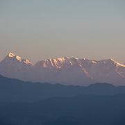 The Himalaya mountain range as seen at sunrise from Ranikhet, India on Dec. 6, 2018.