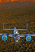 Color Photographic Print of B-25 Mitchell Bomber flying over the Arizona desert